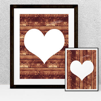 Wood Plank Valentine Printable | Rustic wood background with white heart  | Instant Download | Holiday or Nursery Decor | 8x10 and 5x7