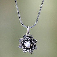 Sterling Silver 'Sacred White Lotus' Pearl Necklace (4 mm) (Indonesia) | Overstock.com Shopping - The Best Deals on Necklaces