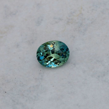 Blue Green Sapphire  Oval Shape Loose Faceted Gemstone for Engagement Ring September Birthstone