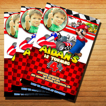 Mario Kart Birtday Invitation Cards 4x6, 5x7, Customized