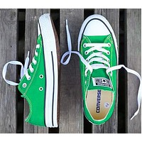 Converse Fashion New Canvas Solid Color Women Men Sports Leisure Shoes Green