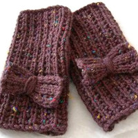 Womens Fingerless Gloves with Bow, mittens with bow, womens glove - MADE TO ORDER