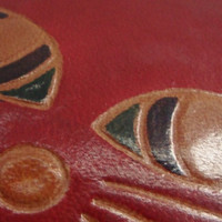 Vintage Red Leather Cat Coin Purse
