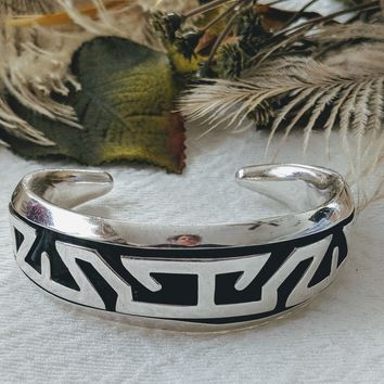 Vintage Taxco Sterling Silver Shadowbox Cuff Bracelet