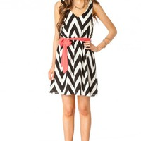 Forever Zig Zag Sash Dress in Classic - ShopSosie.com