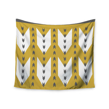 "Pellerina Design ""Golden Aztec"" Yellow White Wall Tapestry"