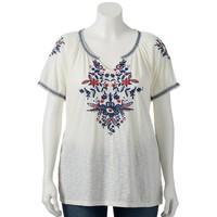 SONOMA life + style Embroidered Peasant Top - Women's Plus