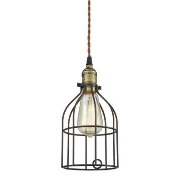 Metal Bird Cage Style Lampshade Chandelier Ceiling Pendant, Black
