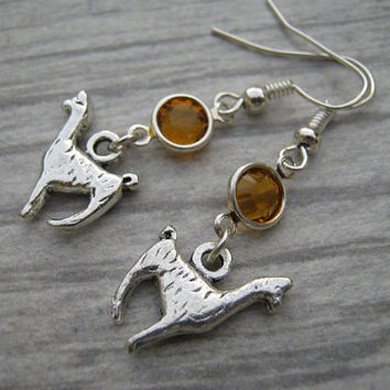 Llama Birthstone Earrings, Personalized Alpaca Earrings, Pack Animal Earrings, Llama Jewelry, Farm Barnyard Earrings, Country Earrings