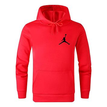 Jordan Trending Couple Leisure Long Sleeve Hoodie Sweater Pullover Top Sweatshirt Red