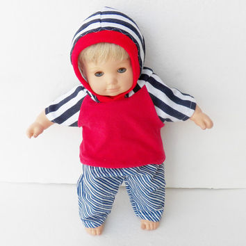 """Bitty Baby Boy Clothes Handmade Twin 15"""" Doll or Baby Doll Blue white stripe pants, red blue stripe hoodie hooded knit t shirt 2 pc outfit"""