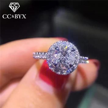 CC 925 Silver Rings For Women Cubic Zirconia Round Stone Bridal Wedding Engagement Ring Fashion Jewelry Drop Shipping CC583