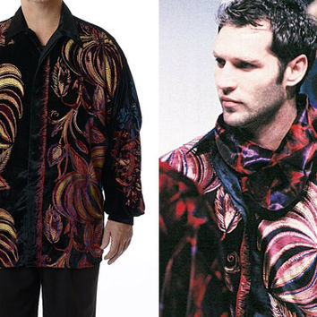 Vintage Rare Authentic GIANNI VERSACE Abstract Painted Velveteen Shirt 1990-1991 Multi Color Floral Italy Designer / Mens size 50