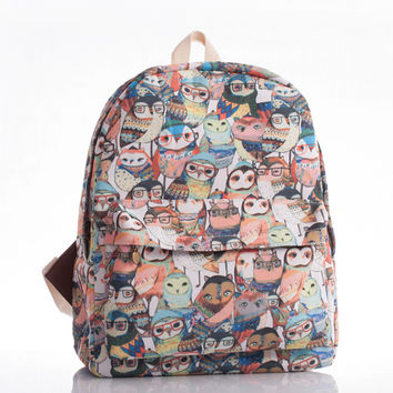 Korean Cats Canvas England Style Owl Backpack = 4887682692