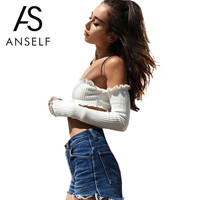 Anself Off Shoulder Summer Crop Top Women Sexy T Shirt Brand Black White Tee Shirt Femme Street Ladies Backless Top Plus Size