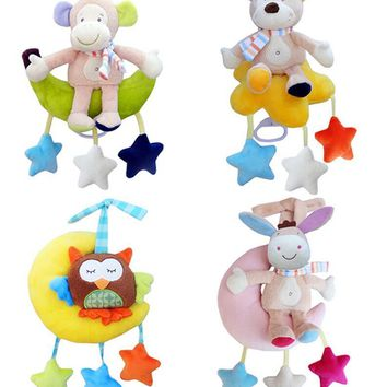 JJOVCE Infant Baby bed crib Soft animal  Monkey bear owl donkey Rattle Hand Bell Plush Stroller early Educational Toy 40%off
