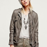 Free People Womens Rumpled Leather Blazer