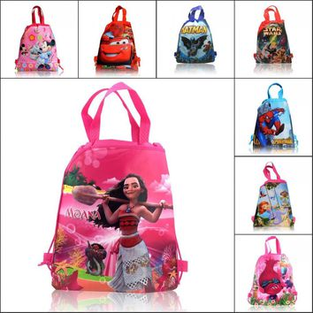 1PCS Cartoon Drawstring Backpack Bags,Non-Woven Fabric Multipurpose Bags 34*27cm Kids School Shopping Bags Party Gifts