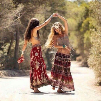 Long Gypsy Skirt Size Small Jeweled Red Pinks Leopard Animal Print Crinkly Vintage Boho Broom Skirt Gipsy Gypset Free Spirited People