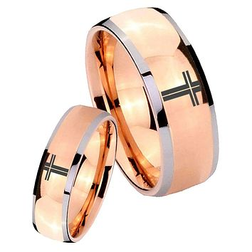 His Hers Rose Gold Dome Flat Christian Cross Two Tone Tungsten Wedding Rings Set