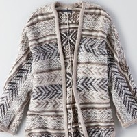 AEO Women's Patterned Cocoon Cardigan (Holiday Heather Brown)