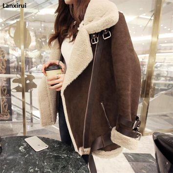 2018 Winter High -Quality Jacket Female Suede Lamb Keep Warm Wool Coat Motorcycle Lapels Coat Female Thicker Jacket Women