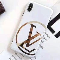 LV new tide brand glossy iPhonexs mobile phone case cover White
