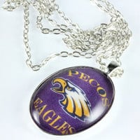 Pecos Eagles Glass Tile Pendant, Oval Pendant, Chain, Team Spirit Necklace