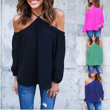 DCCK7BW Women Off Shoulder  Chiffon Tops Ladies Halter Loose Blouse Long Sleeve Casual Solid Shirts Plus Size