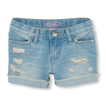 Girls Destructed Roll-Cuff Shorts - Mermaid Wash | The Children's Place