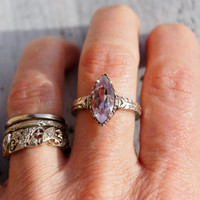 Rose De France Amethyst Silver Deco Ring