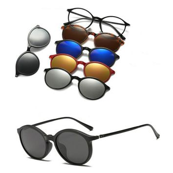 2017 Top Fashion New Wrap Adult Retro 5 +1 Set Glasses Light Polarized Sunglasses Clip-on Prescription Rx Eyeglasses Frames