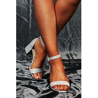 Shining Bright Ankle Strap Heels (Silver Shimmer)
