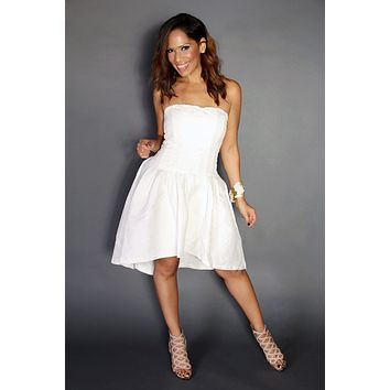 Sophisticated High Low Textured Strapless Cocktail Dress In White