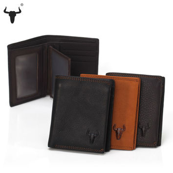 Soft Genuine Leather Wallet For Men Coin Wallets Mens Black Brown With zipper Poucht Photo Caed Holder Handmade High-Quality