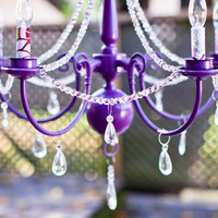 Purple Plum Victorian Mod Nursery Decor Custom Chandelier with fabric Candle covers (ready to ship) - SMALL