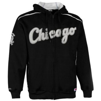 Stitches Chicago White Sox Thermal Sherpa Full Zip Hoodie Sweatshirt - Black