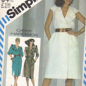 Simplicity 5532 Sewing Pattern 80s Wrap Dress Designer Cathy Hardwick Ruffle V Neck Sleeves or Sleeveless Plus Size Disco Boho Style Bust 38