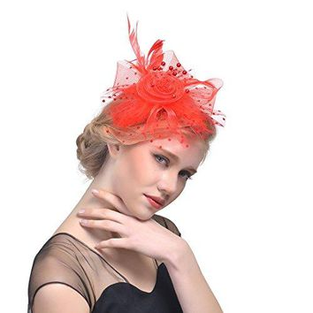 Belle Poque Womens Retro Fascinators Hat with Flower Mesh Ribbons and Feathers for Derby Tea Party