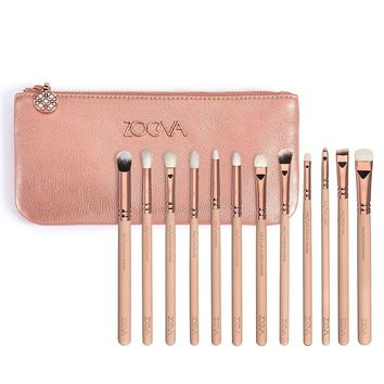 12 PENNELLI EYE BRUSHES BLENDING MAKEUP BRUSHES SET ZOEVA New Rose Golden