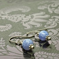 Short Dangle Earrings, Blue Lace Agate and Sterling Silver, Handmade