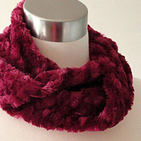 Berry Faux Fur Scarf - Plum Easy Infinity Scarf  - Short No Fuss Circle Scarf