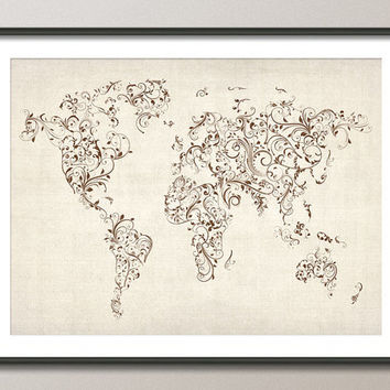 Map of the World Map Floral Swirls Art Print on Etsy