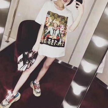 gucci ignasi monreal women casual fashion oil painting portrait print short sleeve t shirt top tee-1