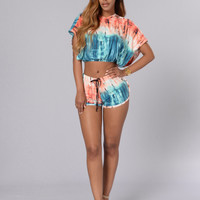 Multi Color Crop Top and Short