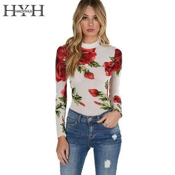 DCCKL8A 2017 Floral Print Turtleneck Bodycon Jumpsuits Women Long Sleeve Sexy Rose Elegant Mesh Slim Summer Bodysuits