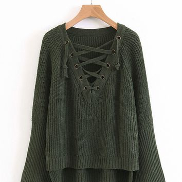 Lace Up Plunge Neckline Dip Hem Sweater