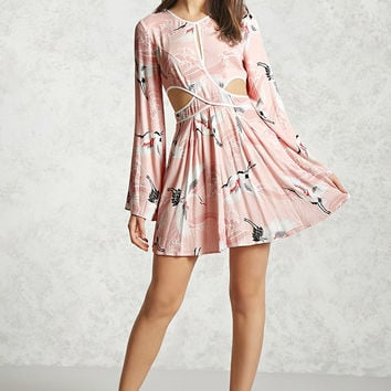 Crane Print Cutout Mini Dress