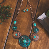 Mix Plated Concho Statement Necklace Set (Copper)