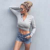 V-collar umbilical long-sleeved grey sweater
